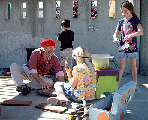 People participating in a sculpture trail event