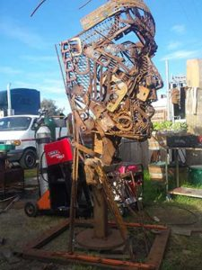 Chief Steel Feather under construction